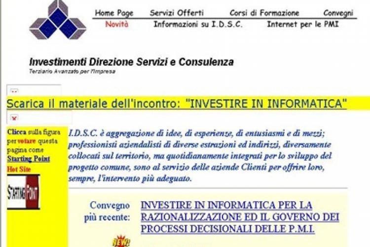 Il sito idscweb.com come appariva nel 1999